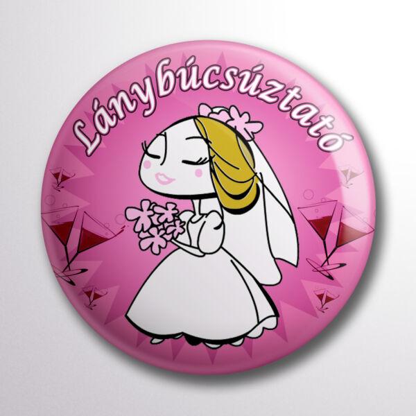Pink menyasszonyos lánybúcsúztató kitűző