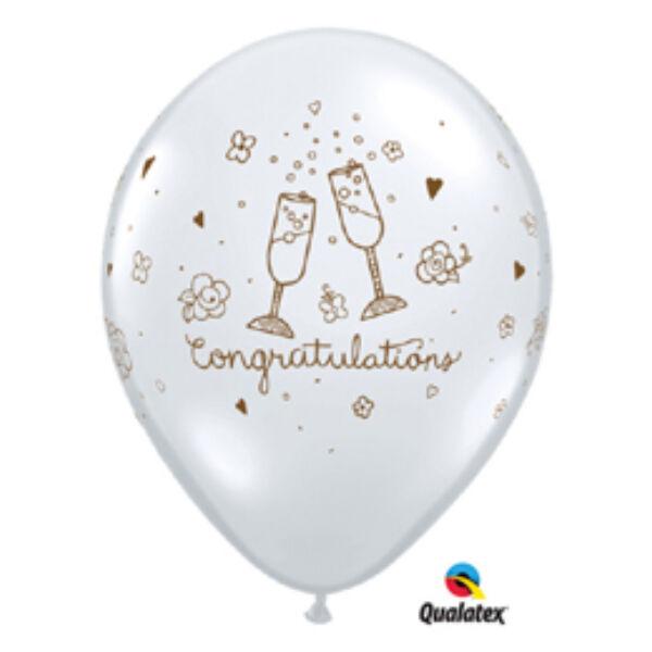 Átlátszó esküvői gratulációs héliumos lufi