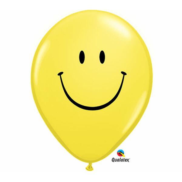 Sárga smile arc héliumos lufi 28 cm