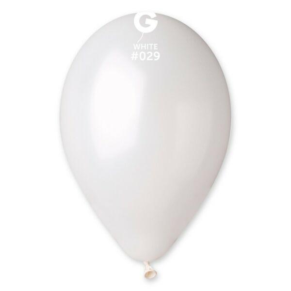 Fehér metál lufi 28 cm