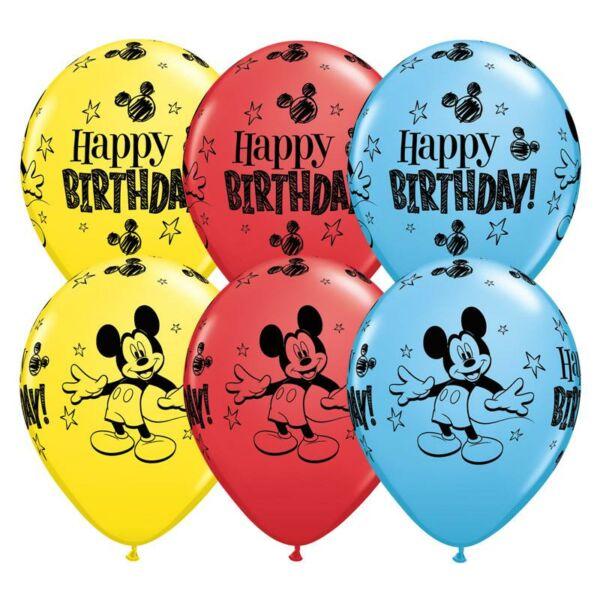 Mickey egér mintás szülinapi lufi 6 db