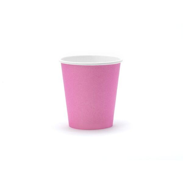 Rózsaszín papír pohár 6 db