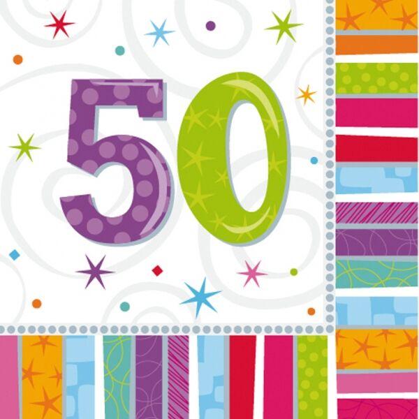 50. színes szülinapi szalvéta
