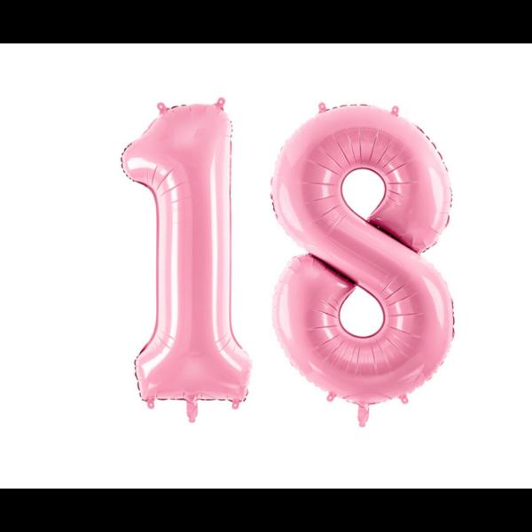 Pasztell rózsaszín 18 szám szülinapi héliumos lufi