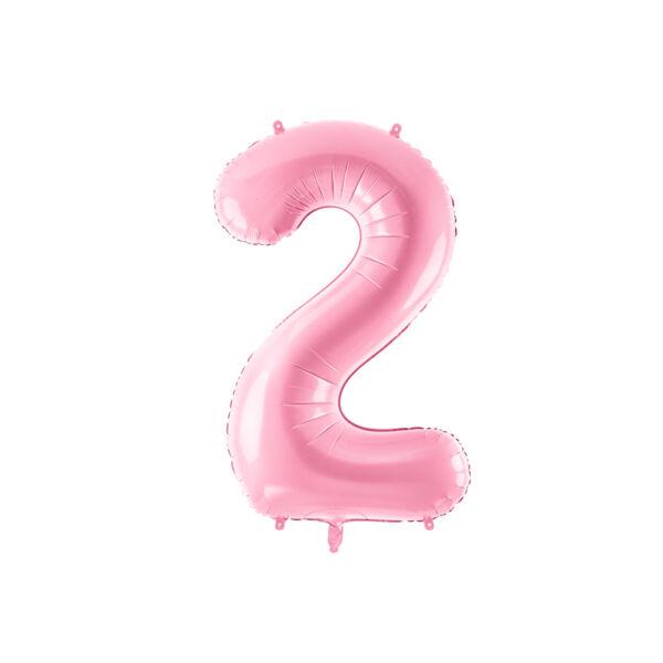 Pasztell rózsaszín 2 szám fólia héliumos lufi