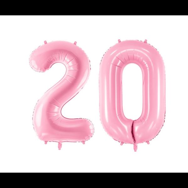 Pasztell rózsaszín 20 szám szülinapi héliumos lufi