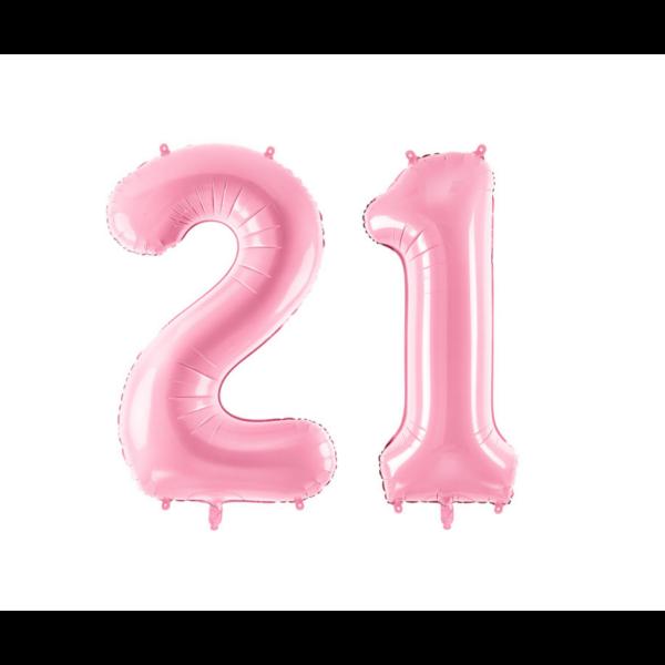 Pasztell rózsaszín 21 szám szülinapi héliumos lufi
