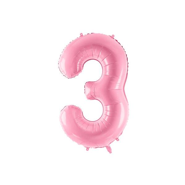 Pasztell rózsaszín 3 szám fólia héliumos lufi