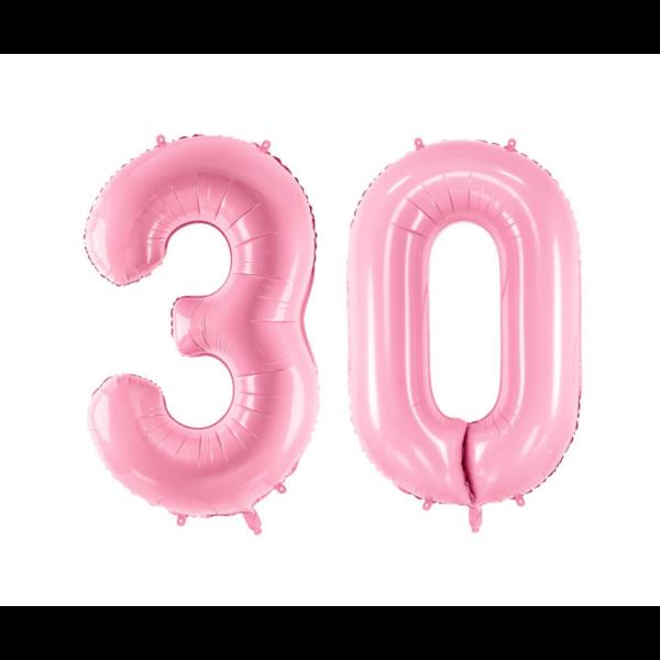 Pasztell rózsaszín 30 szám szülinapi héliumos lufi