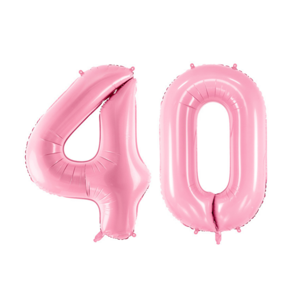 Pasztell rózsaszín 40 szám szülinapi héliumos lufi