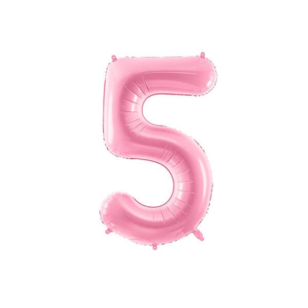 Pasztell rózsaszín 5 szám fólia héliumos lufi