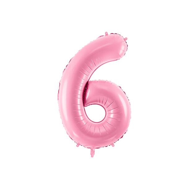 Pasztell rózsaszín 6 szám fólia héliumos lufi