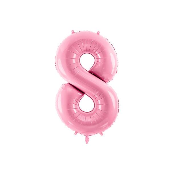 Pasztell rózsaszín 8 szám fólia héliumos lufi