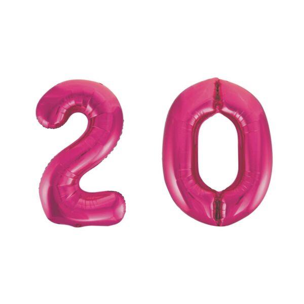 Pink 20 szám szülinapi héliumos lufi