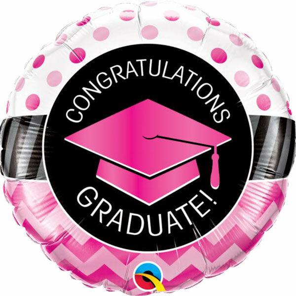 Pink ballagási gratulációs héliumos lufi