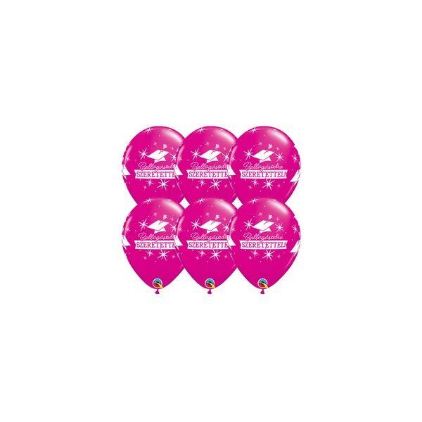Pink ballagásodra szeretettel diplomaosztó kalapos latex lufi 6 db