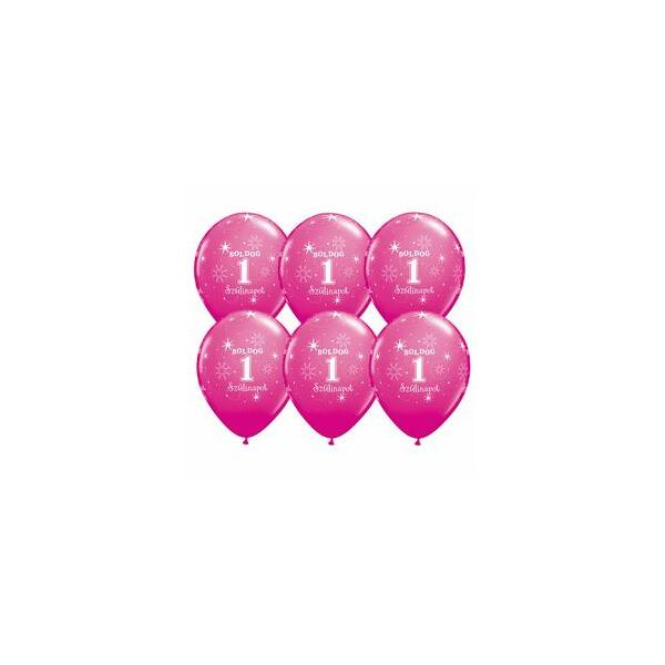 Pink boldog első szülinapot héliumos lufi