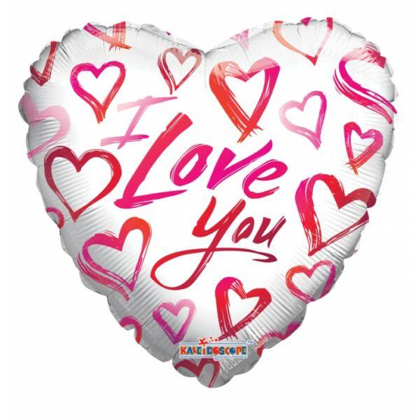 Piros és rózsaszín szives I love you héliumos lufi