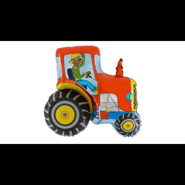 Piros traktor kutyás vezetővel héliumos lufi