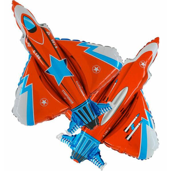 Piros vadászrepülő héliumos lufi