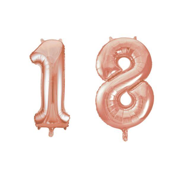 Rose gold 18 szám szülinapi héliumos lufi