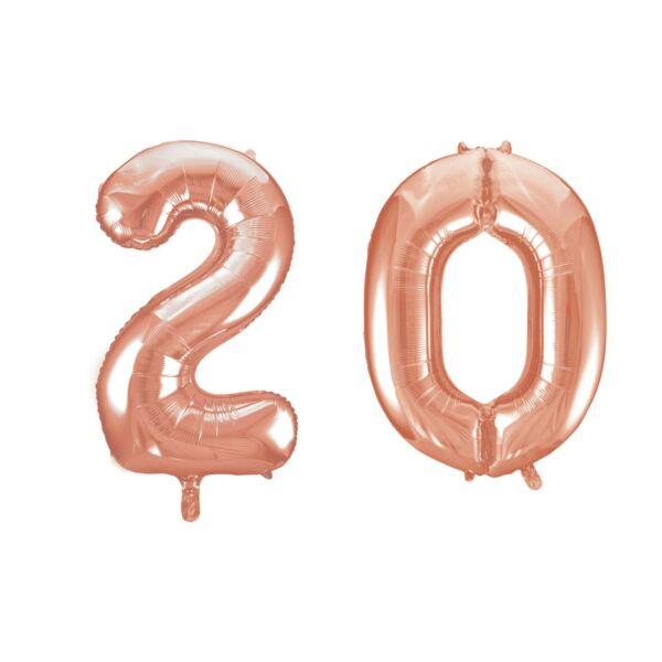 Rose gold 20 szám szülinapi héliumos lufi