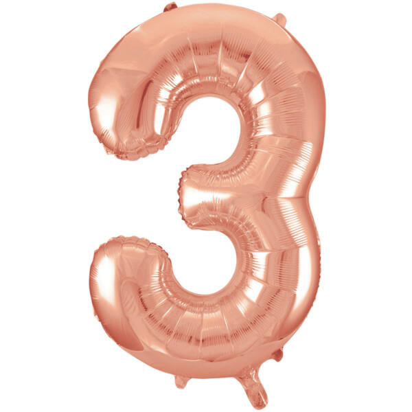 Rose gold 3 szám szülinapi héliumos lufi