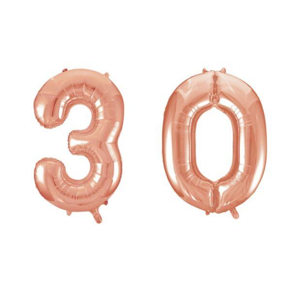 Rose gold 30 szám szülinapi héliumos lufi