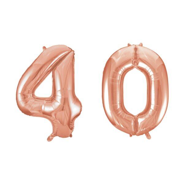Rose gold 40 szám szülinapi héliumos lufi