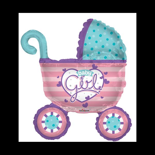 Rózsaszín baby girl babakocsi héliumos lufi