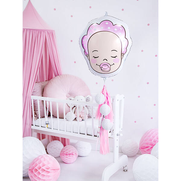 Rózsaszín baby arcos héliumos fólia lufi