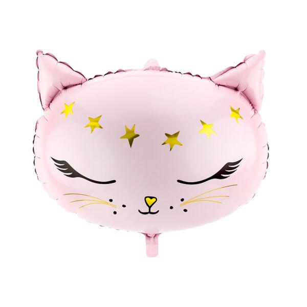 Rózsaszín cica fejes héliumos lufi