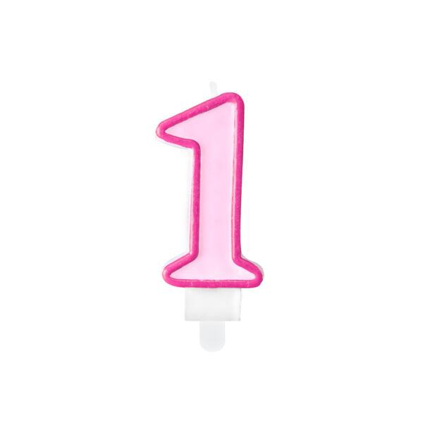 Rózsaszín első szülinapi tortagyertya