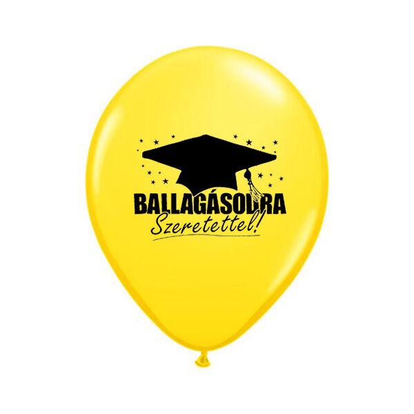 Sárga ballagásodra szeretettel diplomaosztó kalapos héliumos lufi