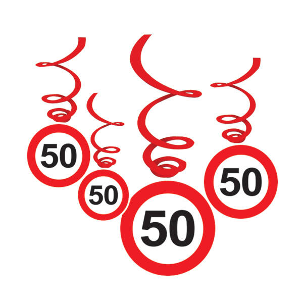 Sebességkorlátozó 50. szülinapi függő dekoráció 6 db