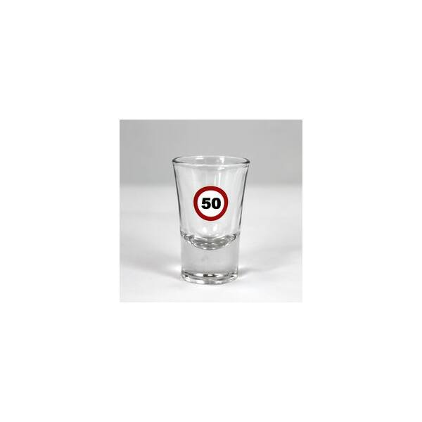 Sebességkorlátozó feles pohár 50 szülinapra