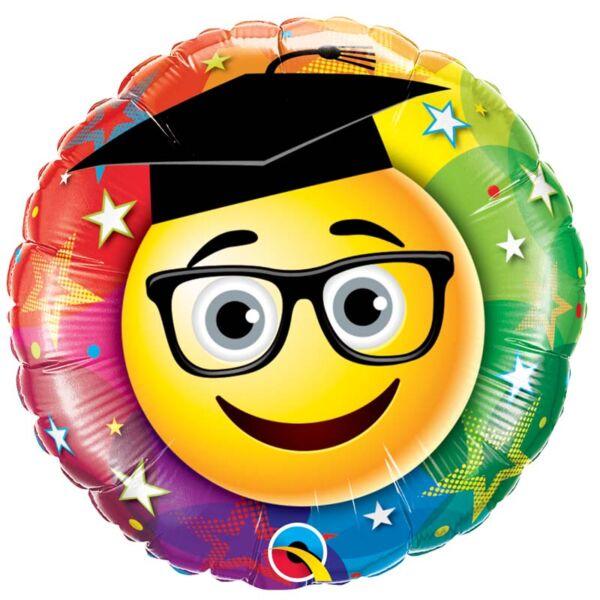 Szemüveges kalapos smile ballagási héliumos lufi