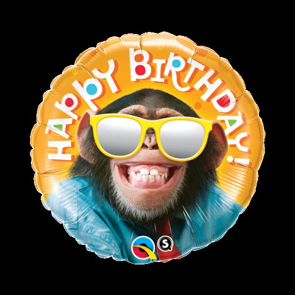 Szemüveges majom szülinapi héliumos lufi