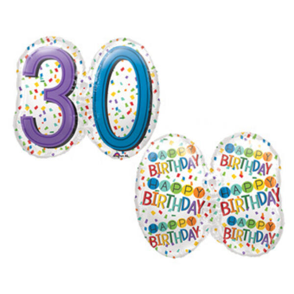 Színes konfettis 30 szülinapi héliumos lufi
