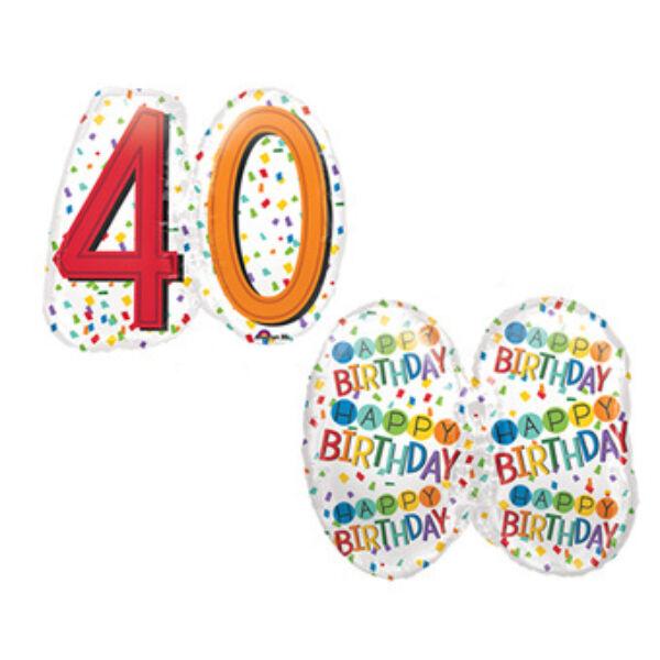Színes konfettis 40 szülinapi héliumos lufi