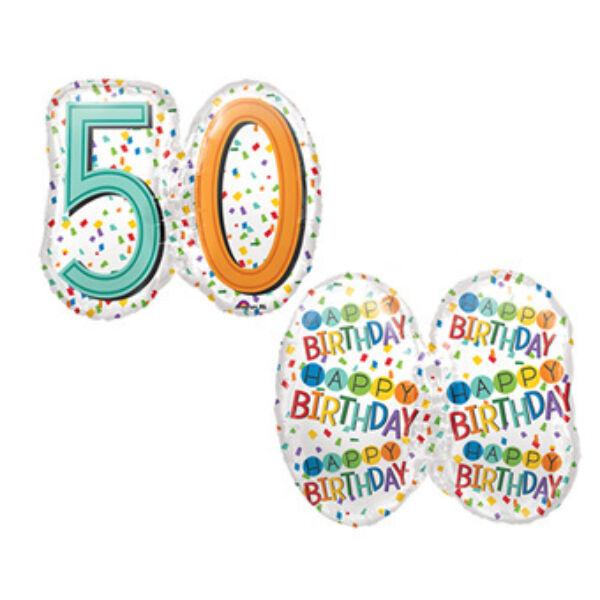 Színes konfettis 50 szülinapi héliumos lufi