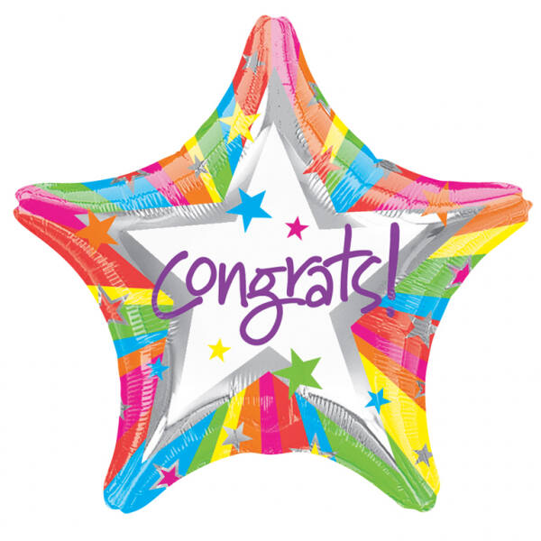 Színes csillag gratulálunk lufi