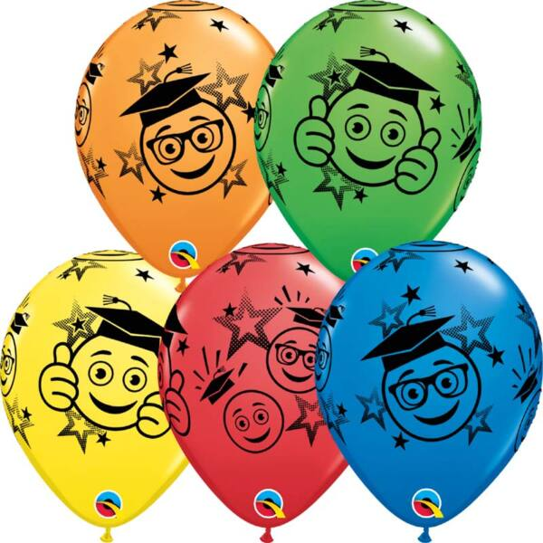 Színes kalapos smile ballagási héliumos lufi