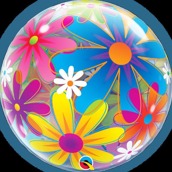 Színes virágos bubble héliumos lufi