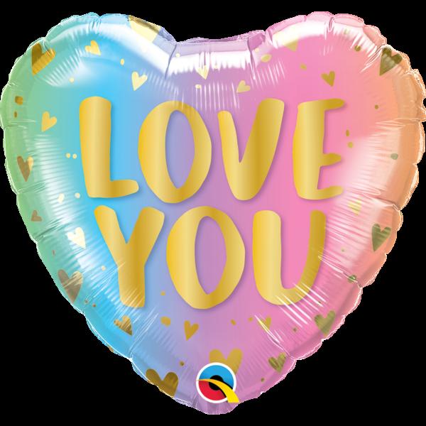 Szív alakú pasztell ombre love you héliumos lufi