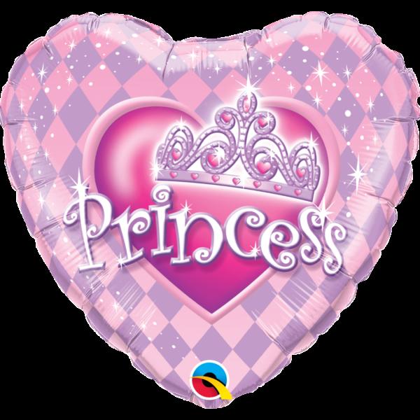 Tiarás princess szív héliumos lufi