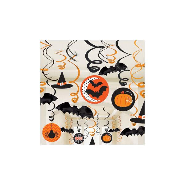 Halloween motívumos spirál függő dekoráció 30 db-os