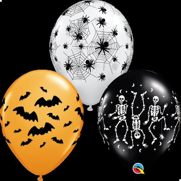 Tökös-pókos-csontvázas halloween lufi 3 db