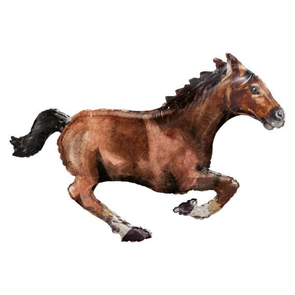 Vágtázó barna ló héliumos lufi