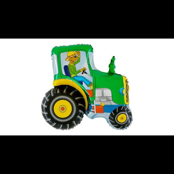 Zöld traktor kutyás vezetővel héliumos lufi